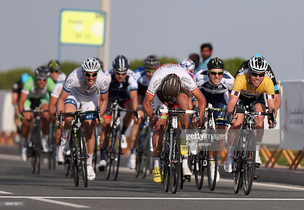 <a gi-track='captionPersonalityLinkClicked' href=/galleries/search?phrase=Mark+Cavendish&family=editorial&specificpeople=684957 ng-click='$event.stopPropagation()'>Mark Cavendish</a> of Great Britain and Omega Pharma - Quick Step sprints to victory on stage five of the 2013 Tour of Qatar from Al Zubara Fort to Madinat Al Shamal on February 7, 2013 in Madinat Al Shamal, Qatar.