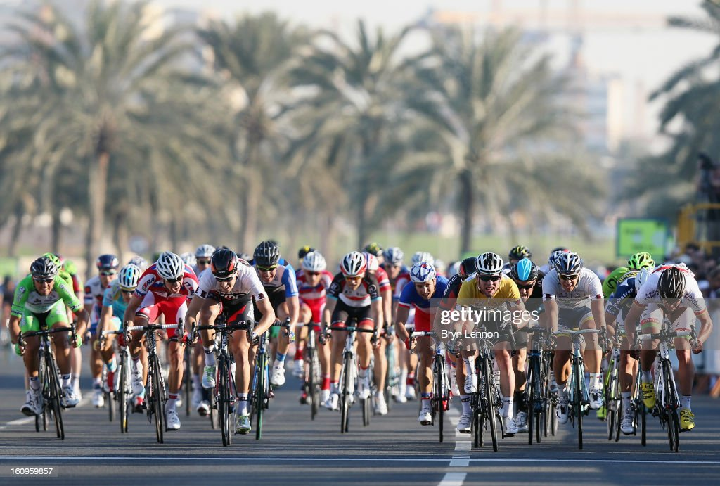 <a gi-track='captionPersonalityLinkClicked' href=/galleries/search?phrase=Mark+Cavendish&family=editorial&specificpeople=684957 ng-click='$event.stopPropagation()'>Mark Cavendish</a> of Great Britain and Omega Pharma - Quick Step sprints for the finish line to win stage six, and the overall classification, of the 2013 Tour of Qatar from Sealine Beach Resort to Doha Corniche on February 8, 2013 in Doha, Qatar.