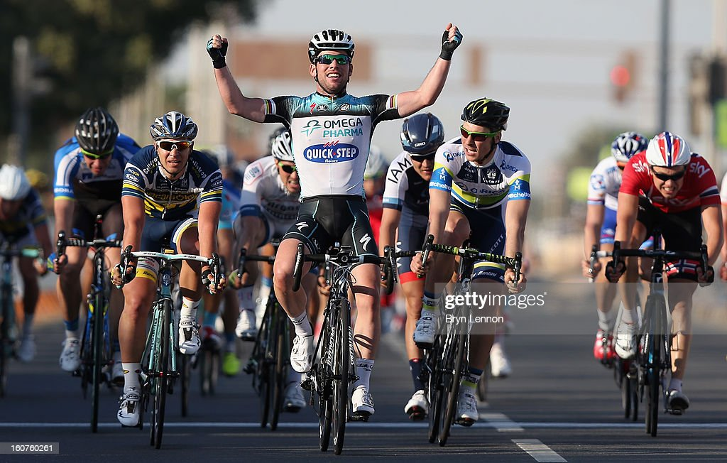 <a gi-track='captionPersonalityLinkClicked' href=/galleries/search?phrase=Mark+Cavendish&family=editorial&specificpeople=684957 ng-click='$event.stopPropagation()'>Mark Cavendish</a> of Great Britain and Omega Pharma - Quick Step celebrates winning stage three of the Tour of Qatar from Al Wakra to Mesaieed on February 5, 2013 in Doha, Qatar.