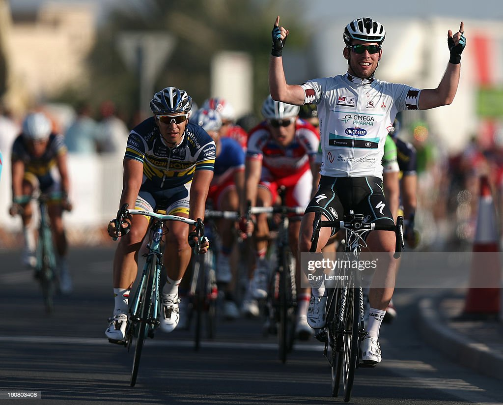 <a gi-track='captionPersonalityLinkClicked' href=/galleries/search?phrase=Mark+Cavendish&family=editorial&specificpeople=684957 ng-click='$event.stopPropagation()'>Mark Cavendish</a> of Great Britain and Omega Pharma - Quick Step celebrates winning stage four of the Tour of Qatar from Camel Race Track to Al Khor Corniche on February 6, 2013 in Al Khor Corniche, Qatar.
