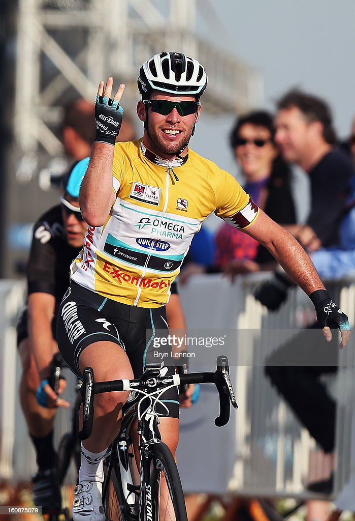 <a gi-track='captionPersonalityLinkClicked' href=/galleries/search?phrase=Mark+Cavendish&family=editorial&specificpeople=684957 ng-click='$event.stopPropagation()'>Mark Cavendish</a> of Great Britain and Omega Pharma - Quick Step celebrates winning stage five of the 2013 Tour of Qatar from Al Zubara Fort to Madinat Al Shamal on February 7, 2013 in Madinat Al Shamal, Qatar.