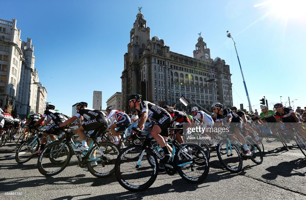 Mark Cavendish of Great Britain and Omega PharmaQuickstep team takes a turn in front of the Liver Building during Stage One of the Tour of Britain in...