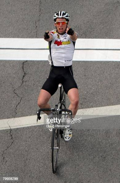 Mark Cavendish of Great Britain and riding for Team High Road celebrates after crossing the finish line but was forced to reliquish the win when he...