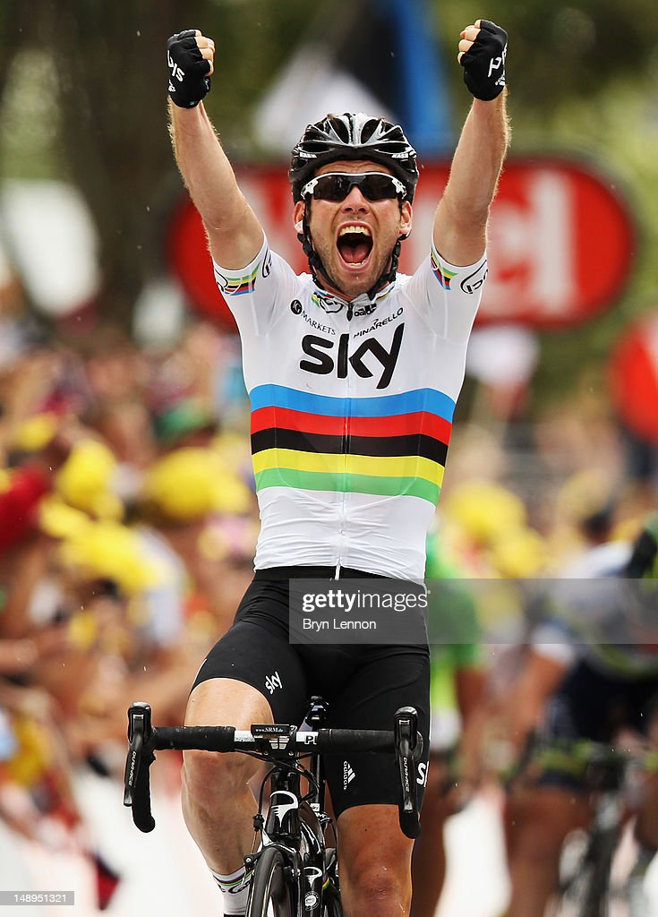 <a gi-track='captionPersonalityLinkClicked' href=/galleries/search?phrase=Mark+Cavendish&family=editorial&specificpeople=684957 ng-click='$event.stopPropagation()'>Mark Cavendish</a> of Great Britain and SKY Procycling celebrates winning stage eighteen of the 2012 Tour de France from Blagnac to Brive-la-Gaillarde on July 20, 2012 in Brive-la-Gaillarde, France.