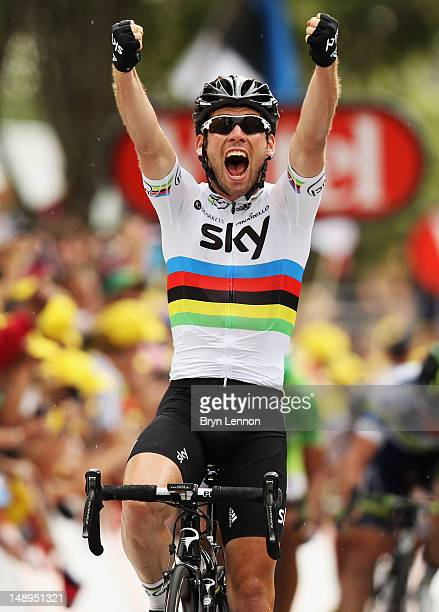 Mark Cavendish of Great Britain and SKY Procycling celebrates winning stage eighteen of the 2012 Tour de France from Blagnac to BrivelaGaillarde on...
