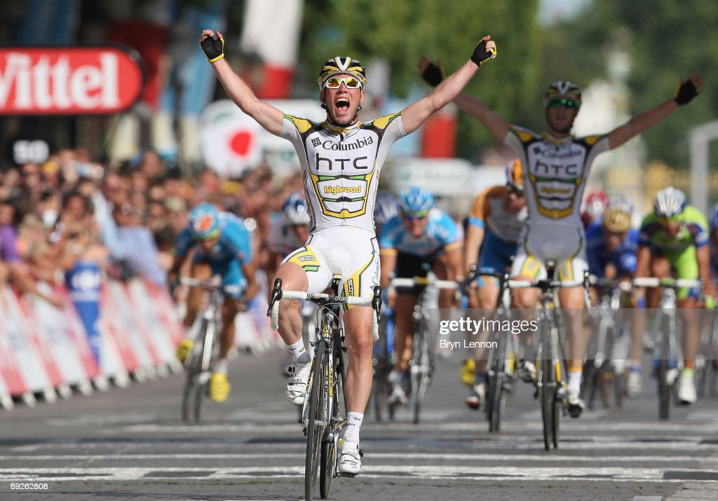 Mark Cavendish of Great Britain and Team Columbia-HTC crosses the finish line to win Stage Twenty One of the Tour de France on July 26, 2009 in Paris, France.