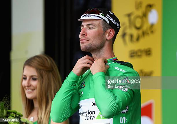 Mark Cavendish of Great Britain and Team Dimension Data also took the green points jersey after winning stage three of the 2016 Tour de France a...