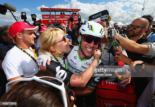 Mark Cavendish of Great Britain and Team Dimension Data celebrates his victory during Stage One of Le Tour de France 2016 on July 2 2016 in...