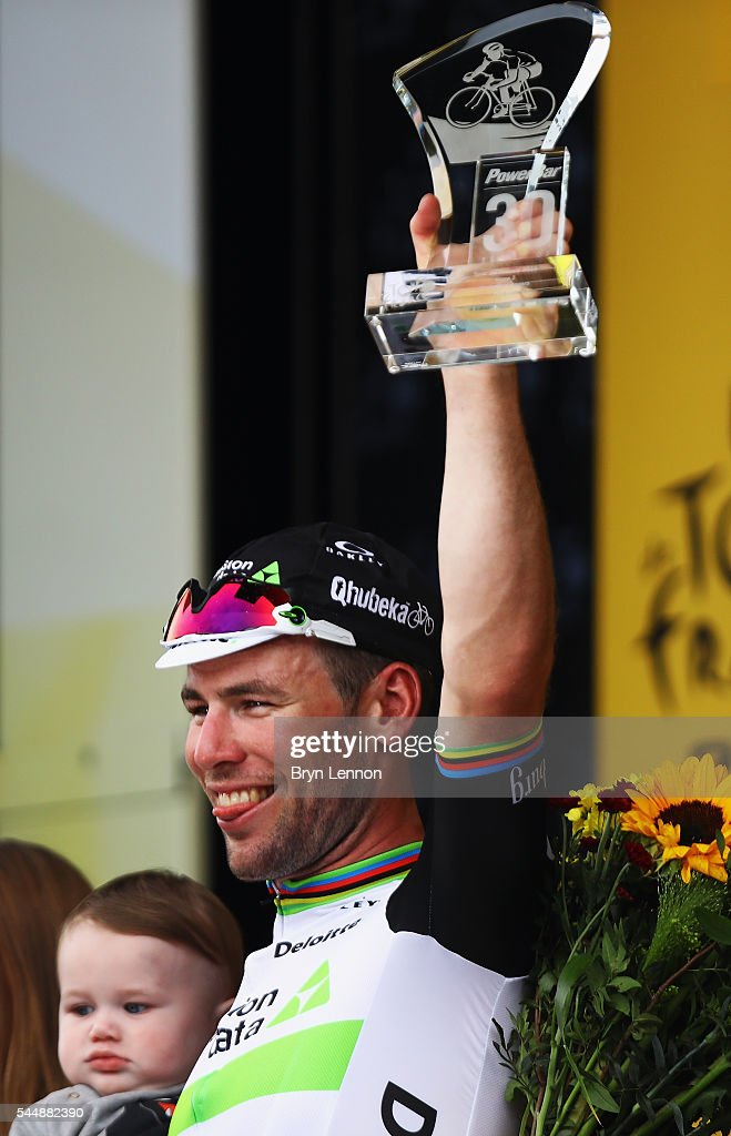 Mark Cavendish of Great Britain and Team Dimension Data celebrates winning stage three of the 2016 Tour de France, a 223.5km road stage from Granville to Angers, on July 4, 2016 in Angers, France.