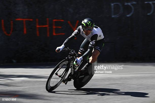 Mark Cavendish of Great Britain and Team Dimension Data during the 37km Individual Time Trial stage thirteen of Le Tour de France from...