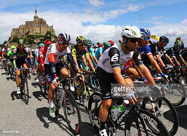 Mark Cavendish of Great Britain and Team Dimension Data rides with fellow comptetitors during Stage One of Le Tour de France 2016 on July 2 2016 in...