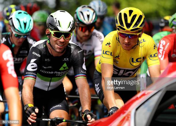 Mark Cavendish of Great Britain and Team Dimension Data speaks with Geraint Thomas of Great Britain and Team Sky during stage four of Le Tour de...