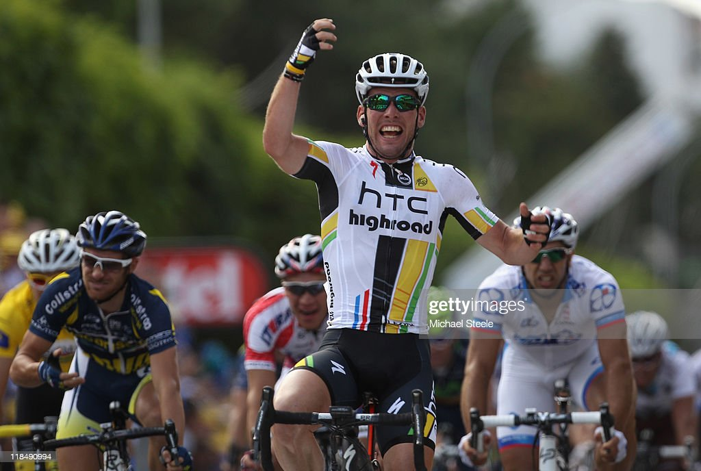Mark Cavendish of Great Britain and team HTC Highroad celebrates his seventeenth stage victory during Stage 7 of the 2011 Tour de France from Le Mans to Chateauroux on July 8, 2011 in Chateauroux, France.