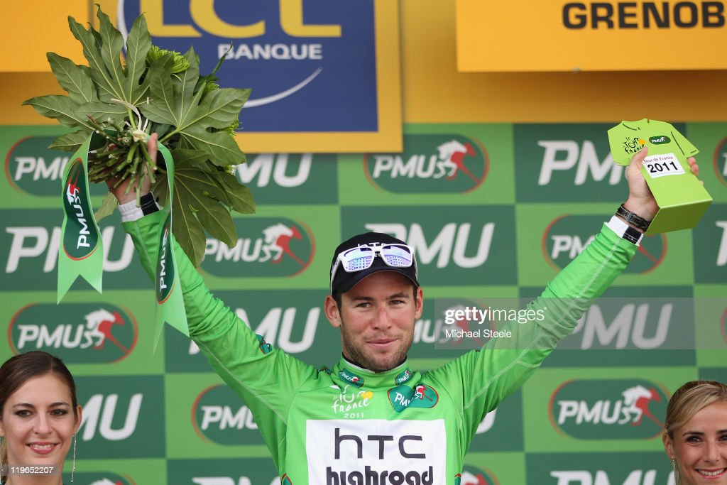 Mark Cavendish of Great Britain and Team HTC Highroad retains the Green Points jersey after the Individual Time Trial Stage 20 of the 2011 Tour de France on July 23, 2011 in Grenoble, France.