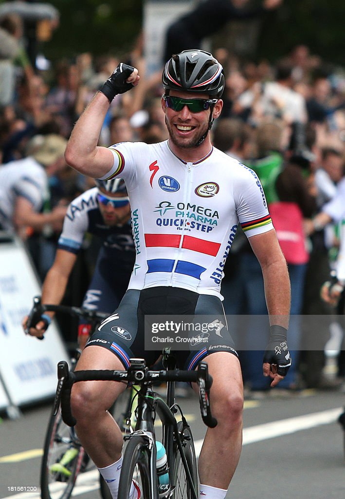 <a gi-track='captionPersonalityLinkClicked' href=/galleries/search?phrase=Mark+Cavendish&family=editorial&specificpeople=684957 ng-click='$event.stopPropagation()'>Mark Cavendish</a> of Great Britain and team Omega Pharma Quick-Step celebrates after winning the sprint finish during the Tour Of Britain Stage Eight on September 22, 2013 in London, England.