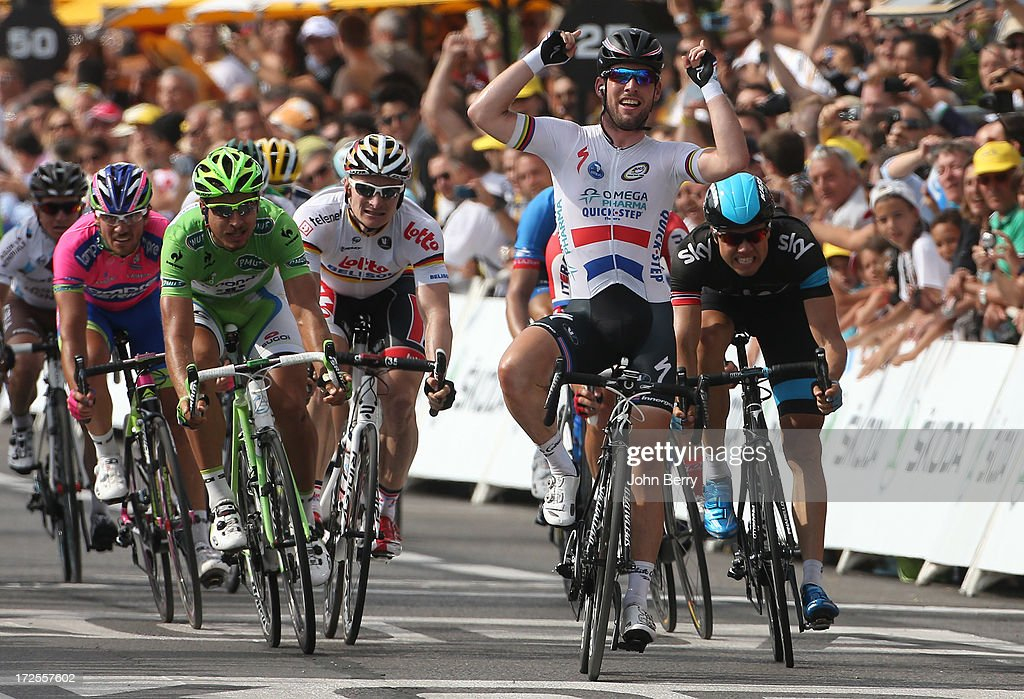 Mark Cavendish (2nd R) of Great Britain and Team Omega Pharma Quick-Step wins ahead of Edvald Boasson Hagen (R) of Norway and Team Sky Pro Cycling, Peter Sagan (L) of Slovakia and Team Cannondale and Andre Greipel of Germany and Team Lotto Belisol - Stage Five of the Tour de France 2013 - the 100th Tour de France -, a 228km road stage from Cagnes-sur-Mer to Marseille on July 3, 2013 in Marseille, France.
