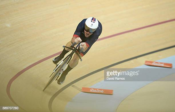 Mark Cavendish of Great Britain competes in the Cycling Track Men's Omnium Time Trial on Day 10 of the Rio 2016 Olympic Games at the Rio Olympic...