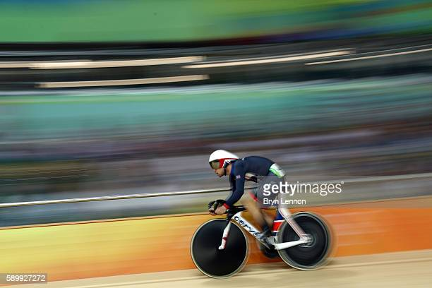 Mark Cavendish of Great Britain competes in the Cycling Track Men's Omnium Flying Lap on on Day 10 of the Rio 2016 Olympic Games at the Rio Olympic...