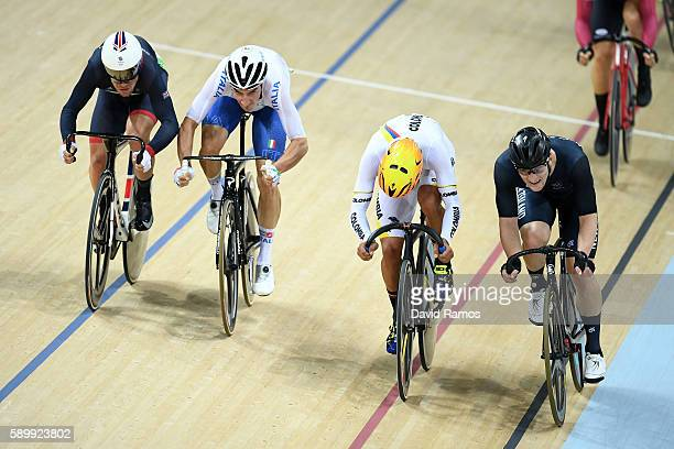 Mark Cavendish of Great Britain Elia Viviani of Italy Fernando Gaviria Rendon of Colombia and Dylan Kennett of New Zealand compete in the Cycling...