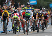 Mark Cavendish of Great Britain riding for Etixx QuickStep celebrates as he wins stage eight of the 2015 Amgen Tour of California from Los Angeles to...