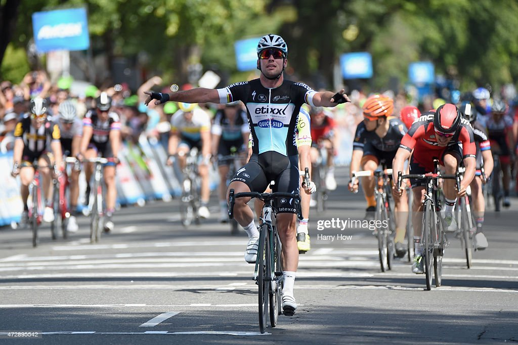 <a gi-track='captionPersonalityLinkClicked' href=/galleries/search?phrase=Mark+Cavendish&family=editorial&specificpeople=684957 ng-click='$event.stopPropagation()'>Mark Cavendish</a> of Great Britain riding for Etixx-Quick Step celebrates as he wins stage one of the 2015 Amgen Tour of California on May 10, 2015 in Sacramento, California.