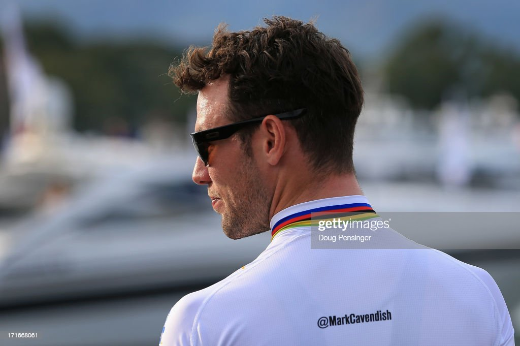 <a gi-track='captionPersonalityLinkClicked' href=/galleries/search?phrase=Mark+Cavendish&family=editorial&specificpeople=684957 ng-click='$event.stopPropagation()'>Mark Cavendish</a> of Great Britain riding for Omega Pharma-Quick Step awaits his team presentation for the 100th Tour de France on June 27, 2013 in Porto Vecchio, France. The 100th Tour de France starts on Saturday from Porto Vecchio in Corsica and finishes on July 21 in Paris.