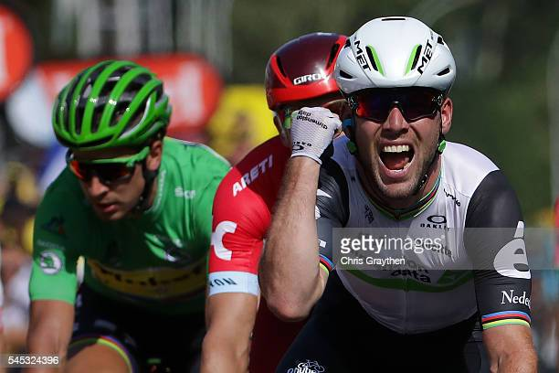 Mark Cavendish of Great Britain riding for Team Dimension Data wins stage six of the 2016 Le Tour de France a 1905km stage from ArpajonSurCere to...