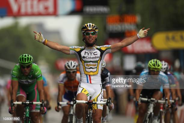 Mark Cavendish of HTC Columbia celebrates victory in the twentieth and final stage of Le Tour de France 2010 from Longjumeau to the ChampsElysees in...