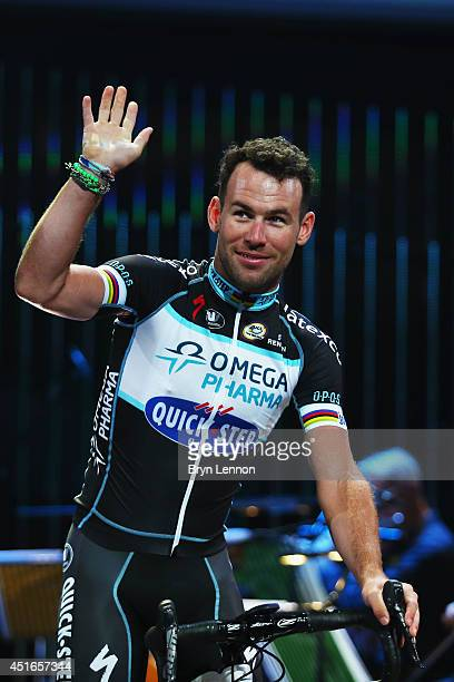 Mark Cavendish of Isle of Man and the Omega Pharma Quick Step attends the 2014 Tour de France Team Presentation prior to the 2014 Le Tour de France...