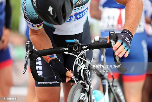 Mark Cavendish of Omega PharmaQuick Step adjusts his brakes at the start line of the 2013 National Mens Road Race Championships on June 23 2013 in...