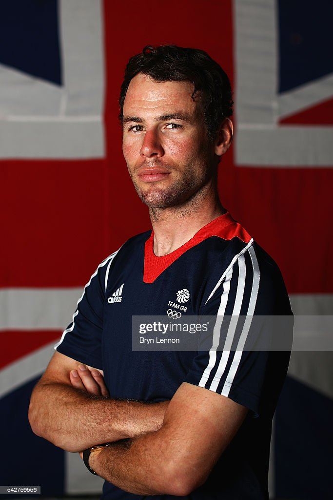 <a gi-track='captionPersonalityLinkClicked' href=/galleries/search?phrase=Mark+Cavendish&family=editorial&specificpeople=684957 ng-click='$event.stopPropagation()'>Mark Cavendish</a> of Team GB poses for a photo at a press conference announcing the Team GB track cyclists selected to ride in the Rio 2016 Olympic Games on June 24, 2016 in Manchester, England.