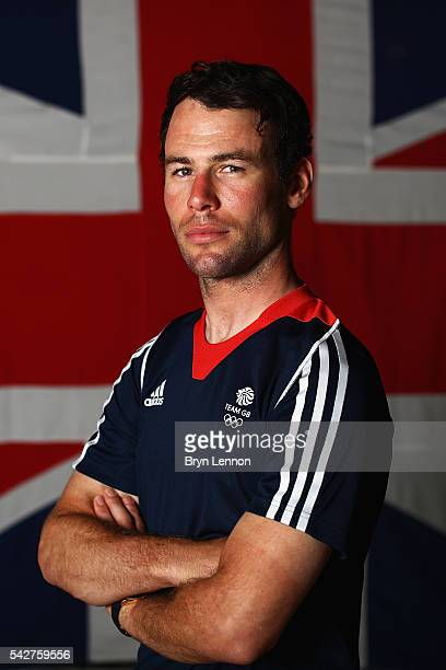 Mark Cavendish of Team GB poses for a photo at a press conference announcing the Team GB track cyclists selected to ride in the Rio 2016 Olympic...