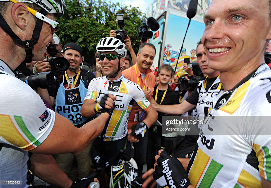 <a gi-track='captionPersonalityLinkClicked' href=/galleries/search?phrase=Mark+Cavendish&family=editorial&specificpeople=684957 ng-click='$event.stopPropagation()'>Mark Cavendish</a> of Team HTC - Highroad during Stage 7 of the Tour de France on July 8, 2011, Le Mans to Chateauroux, France.
