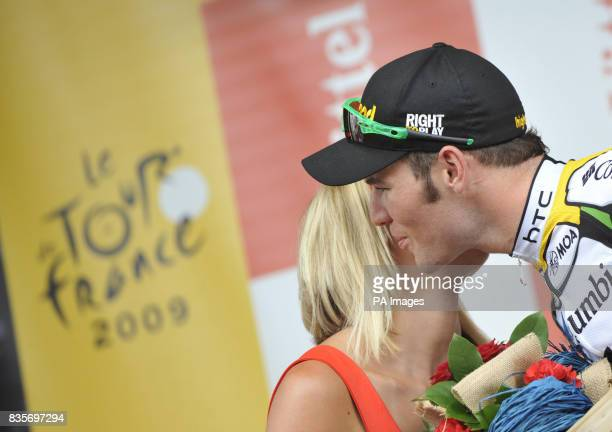 Mark Cavendish on the podium after winning the 10th Stage of the Tour De France in Limoges France