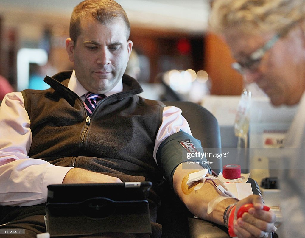 Mark Chaffee, of Concord, participated in The Day of Remembrance Blood Drive at Fenway Park, Tuesday, September 11 2012. Among some of the sponsors were the Boston Red Sox, American Red Cross and Beth Israel Deaconess Medical Center.