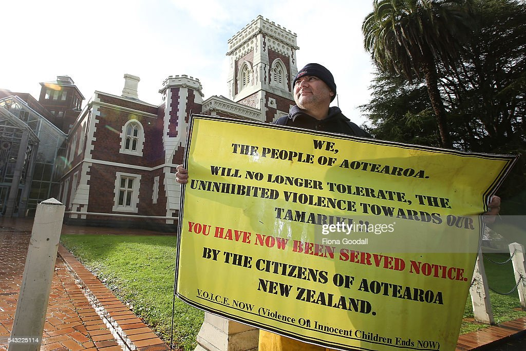 Mark Chapman joins the protest outside the Auckland High Court on June 27, 2016 in Auckland, New Zealand. Three year old toddler Moko Rangitoheriri died on August 10, 2015 from injuries he received during prolonged abuse and torture at the hands of his carers. His killers Tania Shailer and David Haerewa were sentenced at Rotorua High Court today.