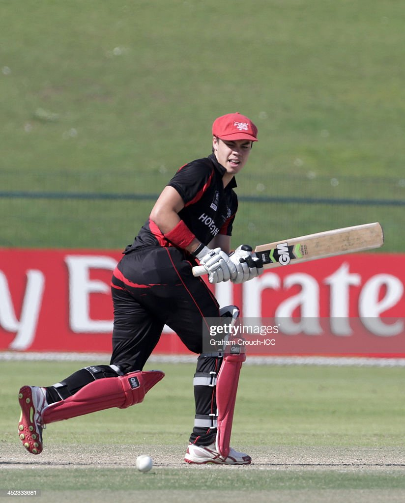 Mark Chapman of Hong Kong batting during the Quarter Final match 64 between Papua New Guinea and Hong Kong at the ICC World Twenty20 Qualifiers at the Zayed Cricket Stadium on November 28, 2013 in Abu Dhabi, United Arab Emirates.
