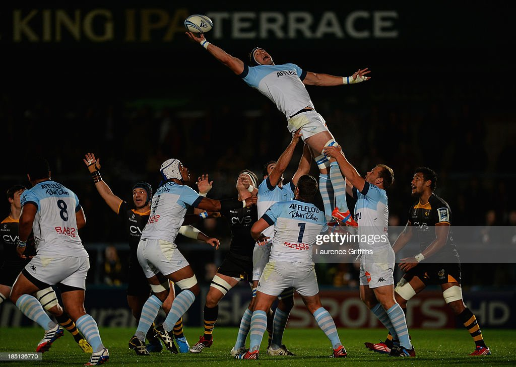 <a gi-track='captionPersonalityLinkClicked' href=/galleries/search?phrase=Mark+Chisholm&family=editorial&specificpeople=226710 ng-click='$event.stopPropagation()'>Mark Chisholm</a> of Bayonne wins the lineout during the Amlin Challenge Cup round two match between London Wasps and Bayonne at Adams Park on October 17, 2013 in High Wycombe, England.