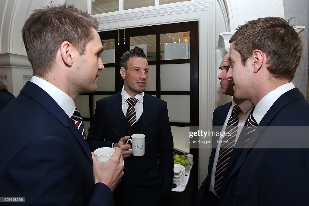 <a gi-track='captionPersonalityLinkClicked' href=/galleries/search?phrase=Mark+Clattenburg&family=editorial&specificpeople=2108870 ng-click='$event.stopPropagation()'>Mark Clattenburg</a> chats with colleagues during the FIFA Referees meeting 2016 at Oulton Hall on February 9, 2016 in Leeds, England.