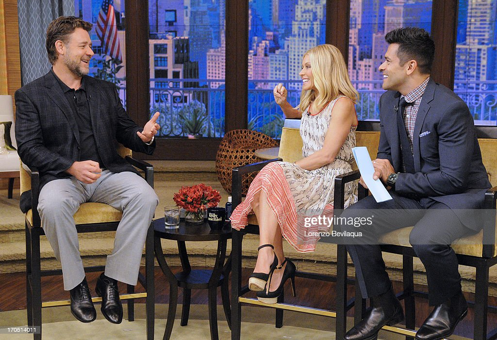 MICHAEL -6/14/13 - Mark Consuelos is Kelly's co-host and Russell Crowe is a guest on 'LIVE with Kelly and Michael,' distributed by Disney-ABC Domestic Television. RUSSELL