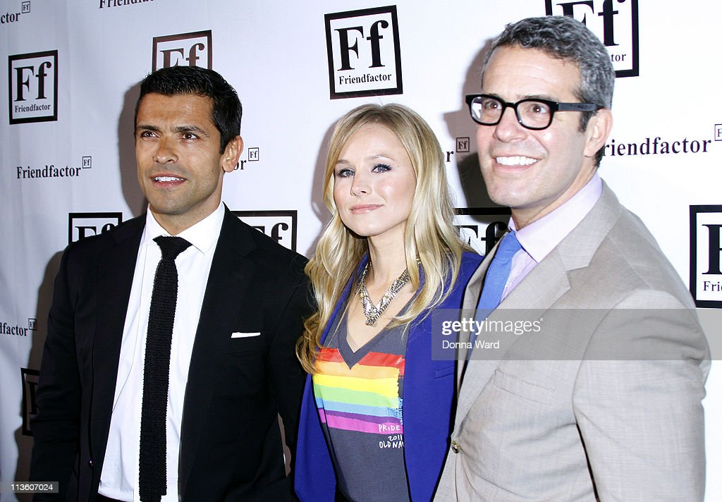 Mark Consuelos, Kristen Bell and Andy Cohen attend the New York launch of Friendfactor at Lavo on May 3, 2011 in New York City.