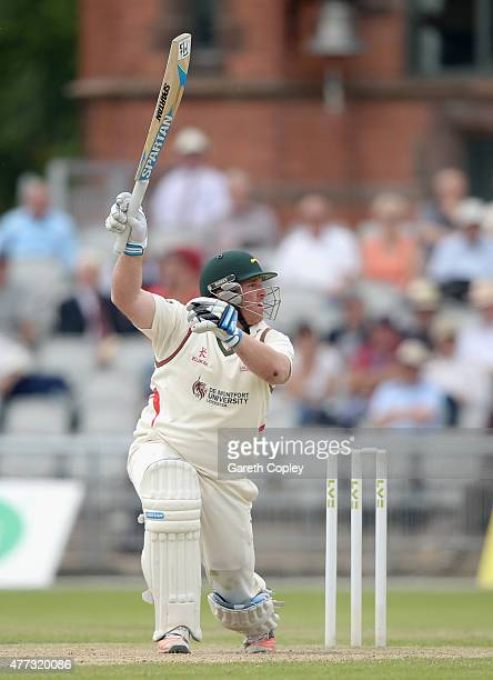 Mark Cosgrove of Leicestershire bats during the LV County Championship division two match between Lancashire and Leicestershire at Old Trafford on...