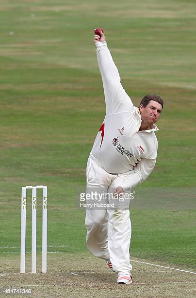 Mark Cosgrove of Leicestershire bowls during the LV County Championship division two match between Northamptonshire and Leicestershire at The County...