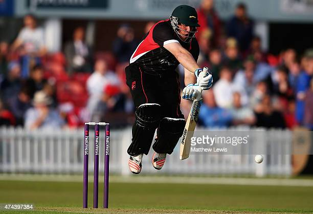 Mark Cosgrove of Leicestershire defends a ball from Mark Footitt of Derbyshire during the NatWest T20 Blast match between Leicestershire and...