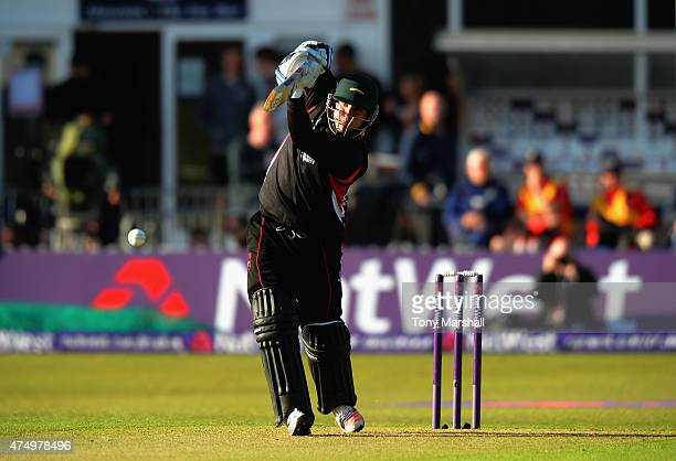 Mark Cosgrove of Leicestershire Foxes bats during the NatWest T20 Blast match between Leicestershire Foxes and Durham Jets at Grace Road on May 28...