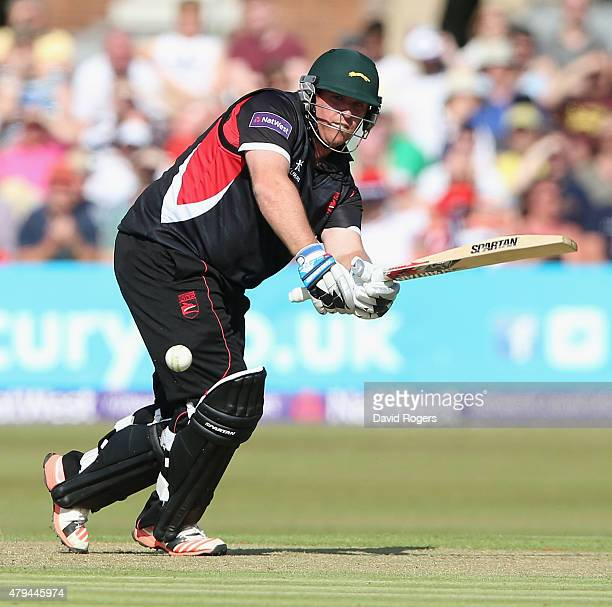 Mark Cosgrove of Leicestershire Foxes hits the ball for four runs during the Natwest T20 Blast match between Leicestershire Foxes and Birmingham...