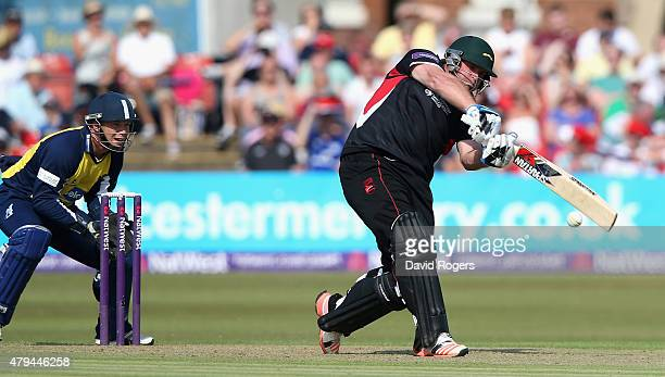 Mark Cosgrove of Leicestershire Foxes pulls the ball for six runs during the Natwest T20 Blast match between Leicestershire Foxes and Birmingham...