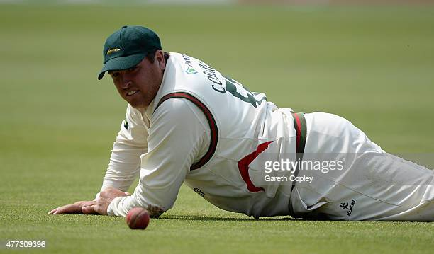 Mark Cosgrove of Leicestershire reacts after dropping Tom Bailey of Lancashire during the LV County Championship division two match between...