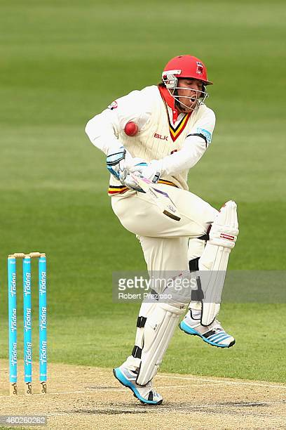 Mark Cosgrove of South Australia is struck by the ball during day three of the Sheffield Shield match between Tasmania and South Australia at...