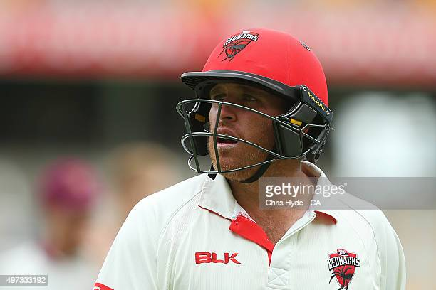 Mark Cosgrove of the Redback leaves the ground after being dismissed by Billy Stanlake of the Bulls during day three of the Sheffield Shield match...